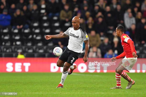 Andre Wisdom of Derby County during the Sky Bet Championship match between Derby County and Barnsley at the Pride Park Derby on Thursday 2nd January...