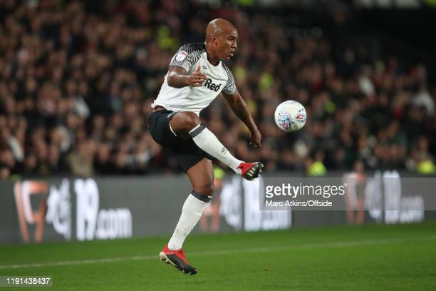 Andre Wisdom of Derby County during the Sky Bet Championship match between Derby County and Barnsley at Pride Park Stadium on January 2 2020 in Derby...