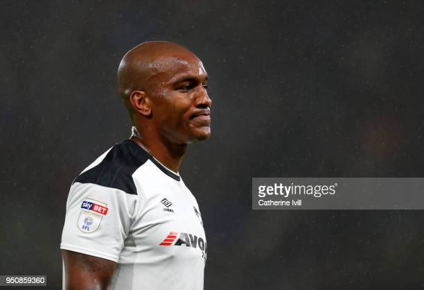 Andre Wisdom of Derby County during the Sky Bet Championship match between Derby County and Cardiff City at iPro Stadium on April 24 2018 in Derby...