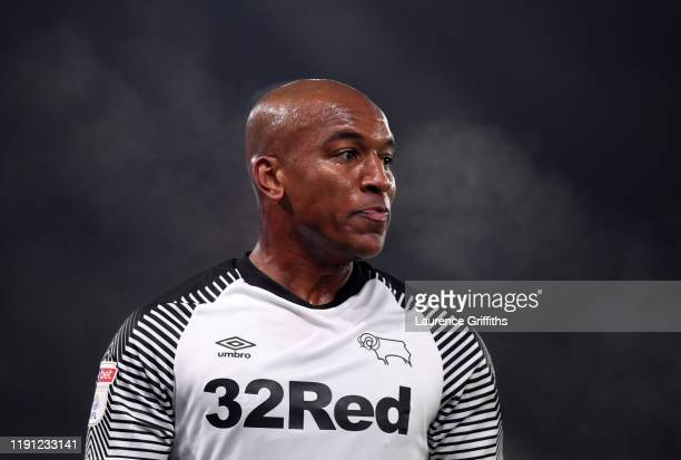 Andre Wisdom of Derby County looks on during the Sky Bet Championship match between Derby County and Queens Park Rangers at Pride Park Stadium on...