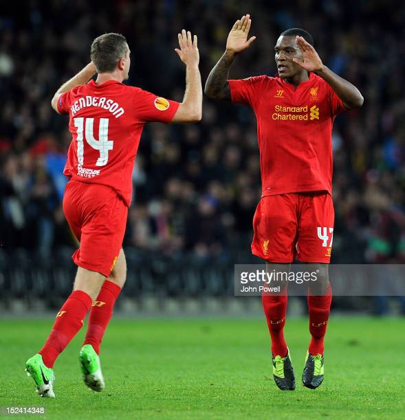 Andre Wisdom of Liverpool celebrates after scoing a goal during the UEFA Europa League match between BSC Young Boys and Liverpool FC at Stade de...