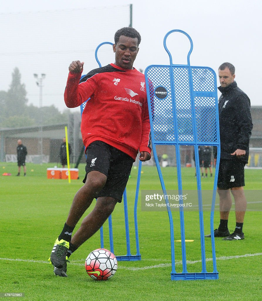 Andre Wisdom on the ball as Liverpool players return for pre-season training at Melwood Training Ground on July 6, 2015 in Liverpool, England.