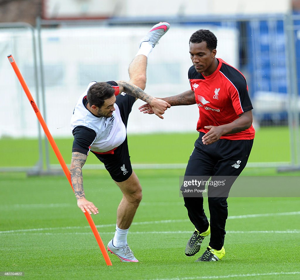 Andre Wisdom with Danny Ings of Liverpool during a Liverpool FC training session at Melwood Training Ground on July 28, 2015 in Liverpool, England.
