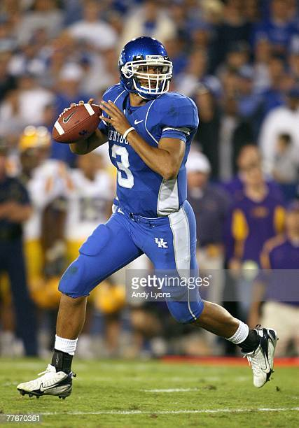Andre Woodson of the Kentucky Wildcats moves to pass the ball against the LSU Tigers during the SEC game at Commonwealth Stadium October 13 2007 in...