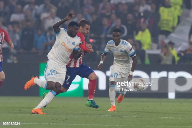 Andre Zambo Anguissa of Marseille and Antoine Griezmann of Atletico Madrid battle for the ball during the UEFA Europa League Final between Olympique...