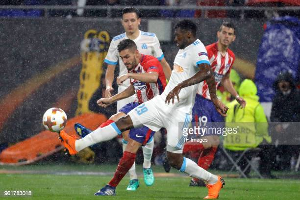 Andre Zambo Anguissa of Marseille and Koke of Atletico Madrid battle for the ball during the UEFA Europa League Final between Olympique de Marseille...