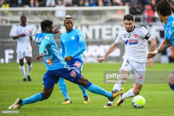 Andre Zambo Anguissa of Marseille and Thomas Monconduit of Amiens during the Ligue 1 match between Amiens SC and Olympique Marseille at Stade de la...