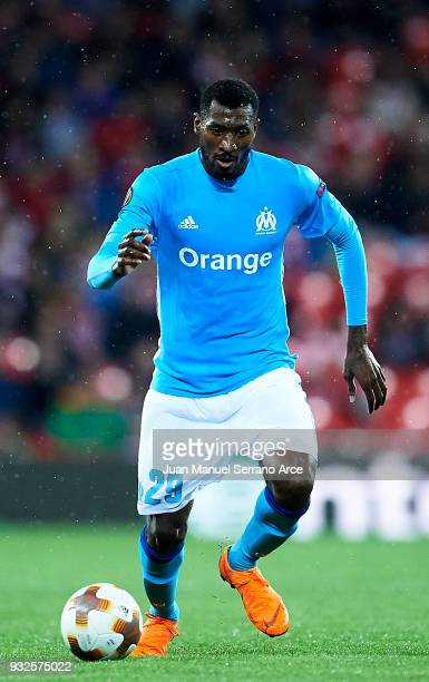 Andre Zambo Anguissa of Marseille controls the ball during UEFA Europa League Round of 16 match between Athletic Club Bilbao and Olympique Marseille...