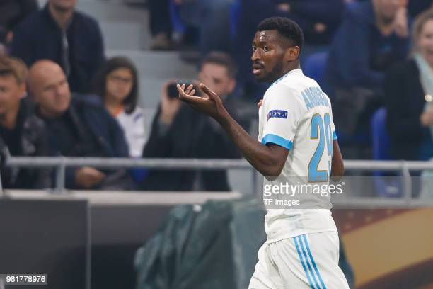 Andre Zambo Anguissa of Marseille gestures during the UEFA Europa League Final between Olympique de Marseille and Club Atletico de Madrid at Stade de...