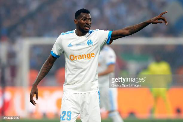 Andre Zambo Anguissa of Olympique de Marseille reacts during the UEFA Europa League Final between Olympique de Marseille and Club Atletico de Madrid...