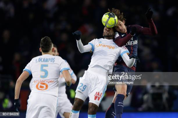 Andre Zambo Anguissa of Olympique Marseille Adrien Rabiot of Paris Saint Germain during the French League 1 match between Paris Saint Germain v...