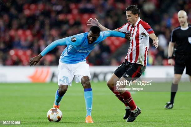 Andre Zambo Anguissa of Olympique Marseille Ander Iturraspe of Athletic Bilbao during the UEFA Europa League match between Athletic de Bilbao v...