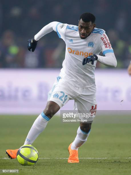 Andre Zambo Anguissa of Olympique Marseille during the French League 1 match between Paris Saint Germain v Olympique Marseille at the Parc des...