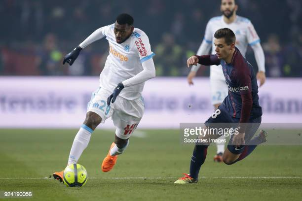 Andre Zambo Anguissa of Olympique Marseille Giovani Lo Celso of Paris Saint Germain during the French League 1 match between Paris Saint Germain v...