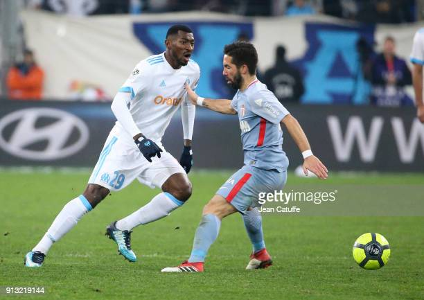 Andre Zambo Anguissa of OM Joao Moutinho of Monaco during the French Ligue 1 match between Olympique de Marseille and AS Monaco at Stade Velodrome on...
