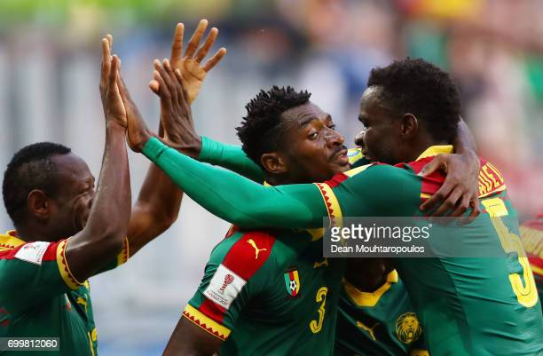 Andre Zambo of Cameroon celebrates scoring his sides first goal with Michael NgadeuNgadjui of Cameroon during the FIFA Confederations Cup Russia 2017...