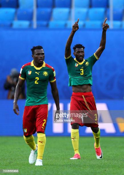 Andre Zambo of Cameroon celebrates scoring the opening goal during the FIFA Confederations Cup Russia 2017 Group B match between Cameroon and...