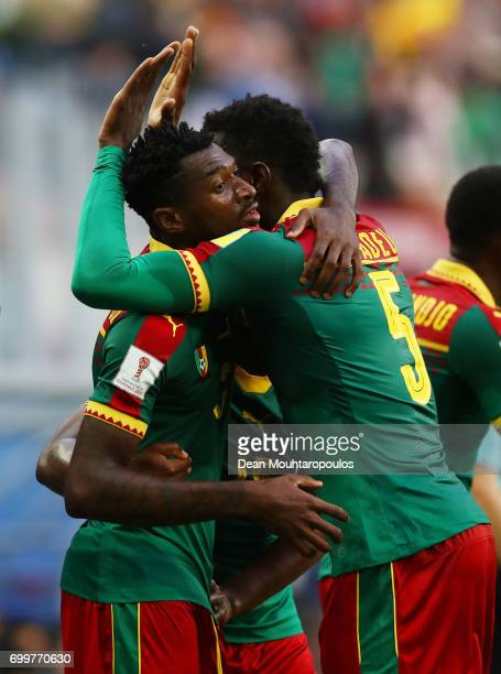 Andre Zambo of Cmeroon celebrates scoring his sides first goal with Michael NgadeuNgadjui of Cameroon during the FIFA Confederations Cup Russia 2017...