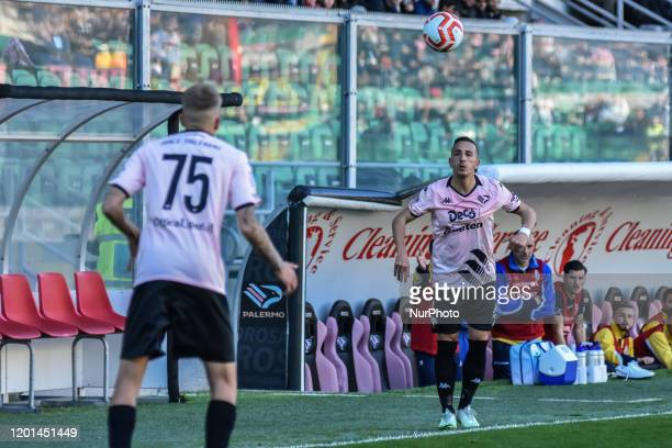 Andrea Accardi and Mattia Felici during the serie D match between SSD Palermo and ASD Biancavilla at Stadio Renzo Barbera on February 16, 2020 in...
