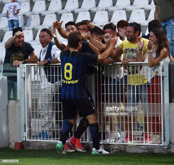 Andrea Adorante of FC Internazionale celebrates after scoring the opening goal during the U17 Serie A Final match between Atalanta BC and FC...