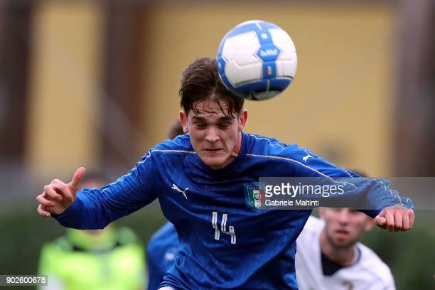 Andrea Adorante of Italy in action during the at Coverciano 'Torneo Dei Gironi' Italian Football Federation U18 Tournament on January 8 2018 in...