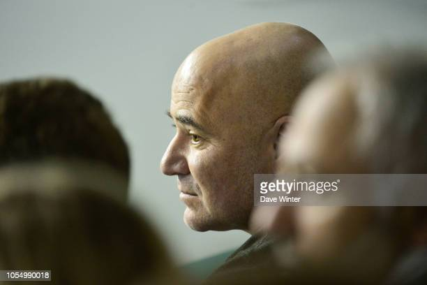 Andrea Agassi who is coaching Grigor Dimitrov of Bulgaria during Day 1 of the Rolex Paris Masters on October 29 2018 in Paris France
