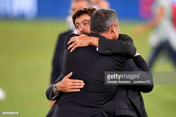 Andrea Agnelli and Angelo Peruzzi during the Italian Supercup match between Juventus and SS Lazio at Stadio Olimpico on August 13 2017 in Rome Italy