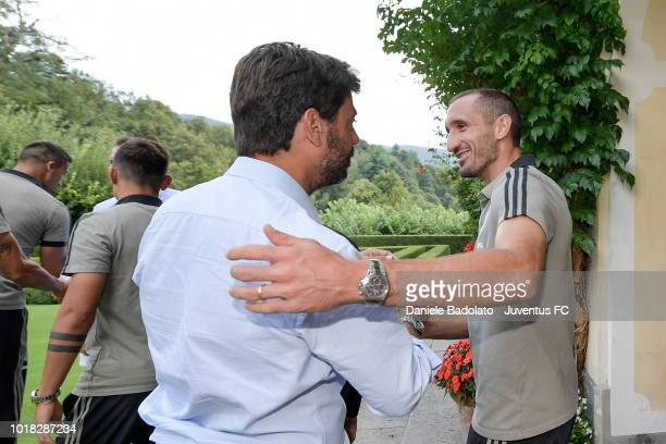 Andrea Agnelli and Giorgio Chiellini during the PreSeason Friendly match between Juventus and Juventus U19 on August 12 2018 in Villar Perosa Italy