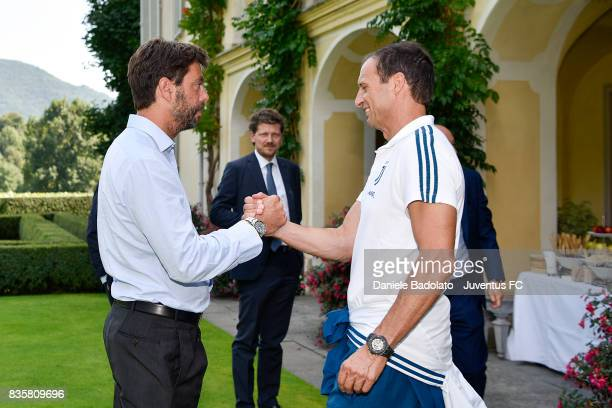 Andrea Agnelli and Massimiliano Allegri during the preseason friendly match between Juventus A and Juventus B on August 17 2017 in Villar Perosa Italy