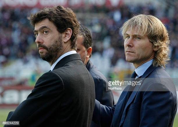 Andrea Agnelli and Pavel Nedved before the serie A match between Torino FC and Juventus FC at the Olympic Stafium of Turin on march 20 2016 in Turin...