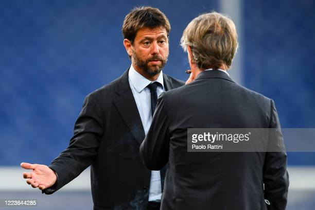 Andrea Agnelli chairman of Juventus chats with Enrico Preziosi chairman of Genoa before the Serie A match between Genoa CFC and Juventus FC at Stadio...