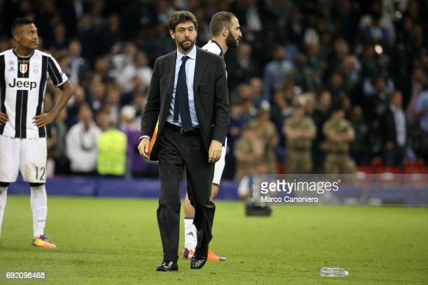 Andrea Agnelli chairman of Juventus FC looks on after the UEFA Champions League final match between Juventus FC and Real Madrid CF Real Madrid beat...