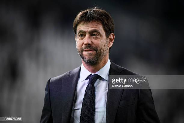 Andrea Agnelli, chairman of Juventus FC, looks on prior to the UEFA Champions League football match between Juventus FC and Chelsea FC. Juventus FC...