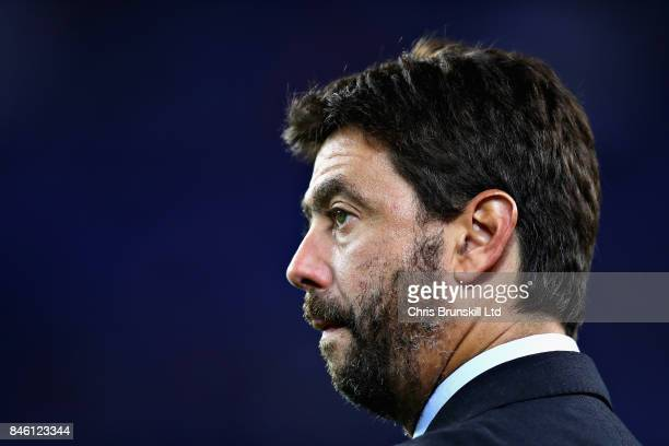 Andrea Agnelli Chairman of Juventus looks on beforee the UEFA Champions League group D match between FC Barcelona and Juventus at Camp Nou on...