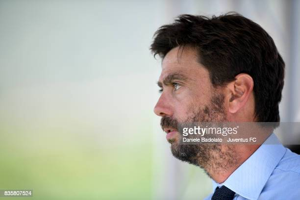 Andrea Agnelli during the preseason friendly match between Juventus A and Juventus B on August 17 2017 in Villar Perosa Italy