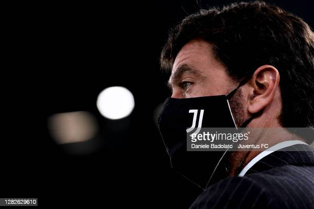 Andrea Agnelli during the Serie A match between Juventus and Hellas Verona FC at Allianz Stadium on October 25, 2020 in Turin, Italy.