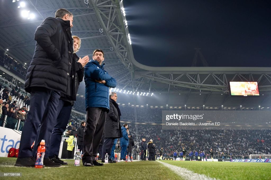 Andrea Agnelli, Pavel Nedved and Massimiliano Allegri attend the serie A match between Juventus and AS Roma at Allianz Stadium on December 23, 2017 in Turin, Italy.