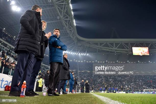 Andrea Agnelli Pavel Nedved and Massimiliano Allegri attend the serie A match between Juventus and AS Roma at Allianz Stadium on December 23 2017 in...