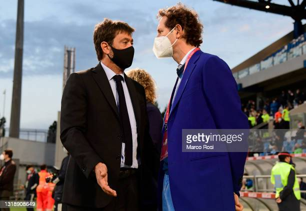 Andrea Agnelli, President of Juventus and John Elkann look on during the TIMVISION Cup Final between Atalanta BC and Juventus on May 19, 2021 in...