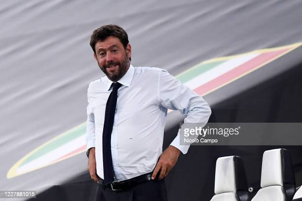 Andrea Agnelli, president of Juventus FC, attends the Serie A football match between Juventus FC and AS Roma. AS Roma won 3-1 over Juventus FC.