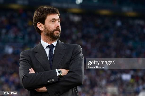 Andrea Agnelli, president of Juventus FC, looks on prior to the Serie A football match between Juventus FC and Atalanta BC. The match ended in a 1-1...