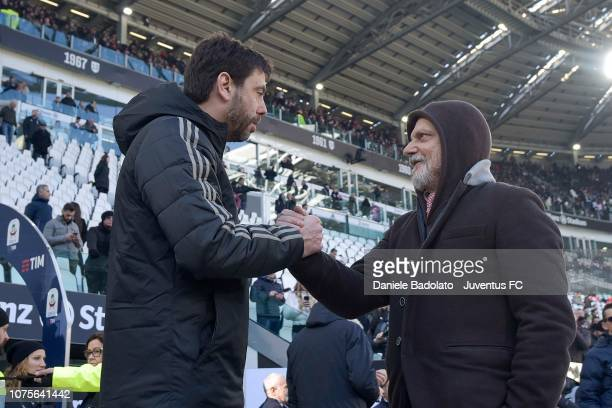 Andrea Agnelli president of Juventus greets Massimo Ferrero president of UC Sampdoria before the Serie A match between Juventus and UC Sampdoria on...