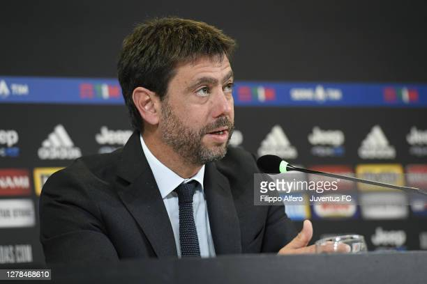 Andrea Agnelli president of Juventus in press conference during the Serie A match between Juventus and SSC Napoli at Allianz Stadium on October 04,...