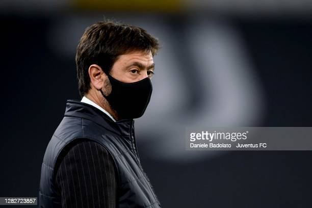 Andrea Agnelli president of Juventus looks on before the UEFA Champions League Group G stage match between Juventus and FC Barcelona at Juventus...