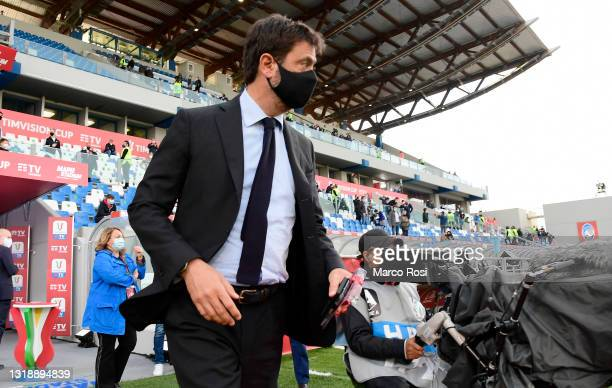 Andrea Agnelli, President of Juventus looks on during the TIMVISION Cup Final between Atalanta BC and Juventus on May 19, 2021 in Reggio nell'Emilia,...