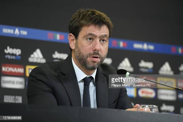 Andrea Agnelli president of Juventus speaks during a press conference after the Serie A match between Juventus and SSC Napoli at on October 04, 2020...