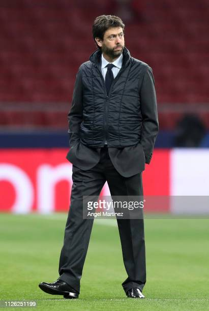 Andrea Agnelli, President of Juventus takes a look around the pitch prior to the UEFA Champions League Round of 16 First Leg match between Club...