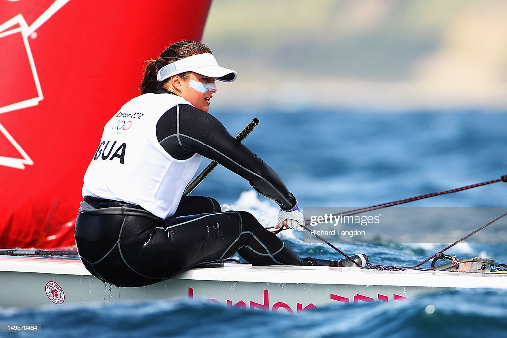 Andrea Aldana Bennett of Guatemala competes in the Laser Radial Women's Sailing on Day 3 of the London 2012 Olympic Games at Weymouth Harbour on July 30, 2012 in Weymouth, England.