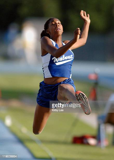 Andrea Allmond of Walnut was seventh in the long jump in a windaided 1710 1/2 in the CIF Southern Section Masters Meet at Cerritos College in Norwalk...