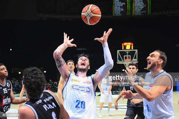 Andrea Ancellotti and Tommaso Rinaldi of De Longhi competes with Alessandro Pajola of Segafredo during the LegaBasket Serie A2 LNP match between...